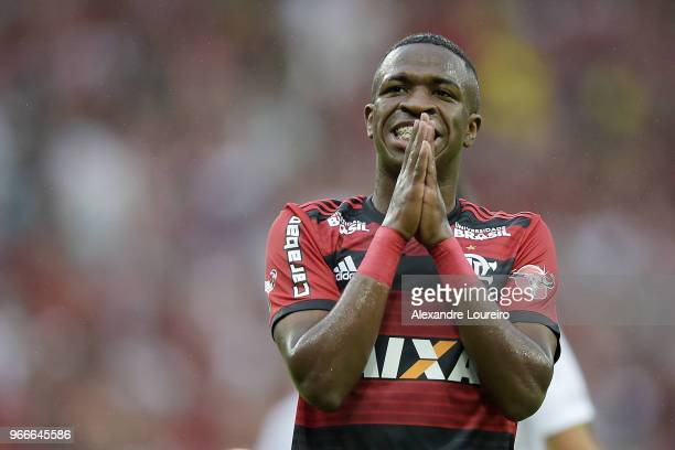 Vinicius Junior of Flamengo reacts during the match between Flamengo and Corinthians as part of Brasileirao Series A 2018 at Maracana Stadium on June...