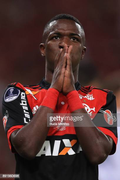 Vinicius Junior of Flamengo reacts during the second leg of the Copa Sudamericana 2017 final between Flamengo and Independiente at Maracana stadium...