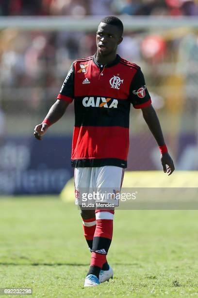 Vinicius Junior of Flamengoin action during a match between Flamengo and Botafogo as part of Brasileirao Series A 2017 at Raulino de Oliveira Stadium...