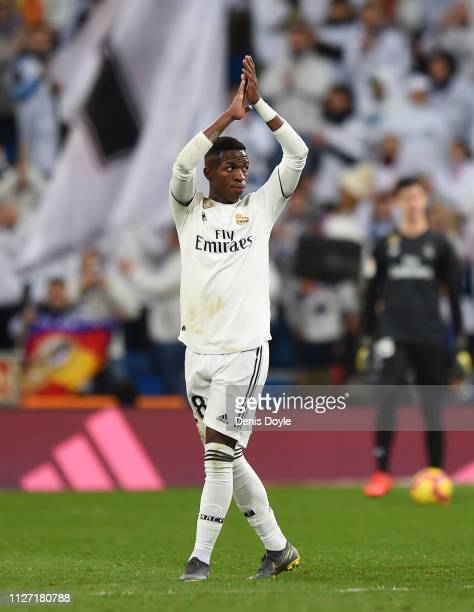 Vinicius Junior of Real Madrid acknowledges the fans as he is substituted during the La Liga match between Real Madrid CF and Deportivo Alaves at...