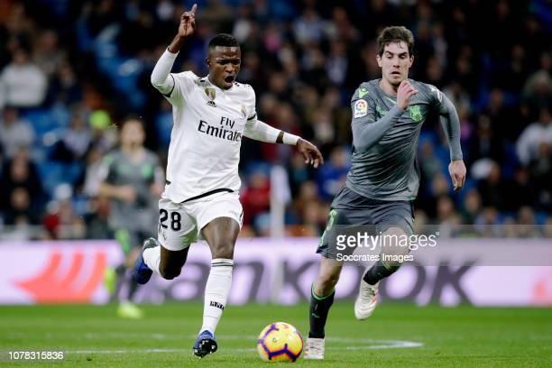 Vinicius Junior of Real Madrid Aritz Elustondo of Real Sociedad during the La Liga Santander match between Real Madrid v Real Sociedad at the...