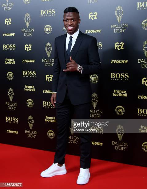 Vinicius Junior of Real Madrid arrives to attend for the Ballon d'Or ceremony at Theatre du Chatelet in Paris on December 02 2019