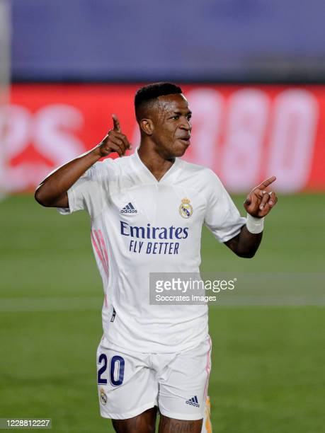Vinicius Junior of Real Madrid celebrates 1-0 during the La Liga Santander match between Real Madrid v Real Valladolid at the Alfredo di Stefano...