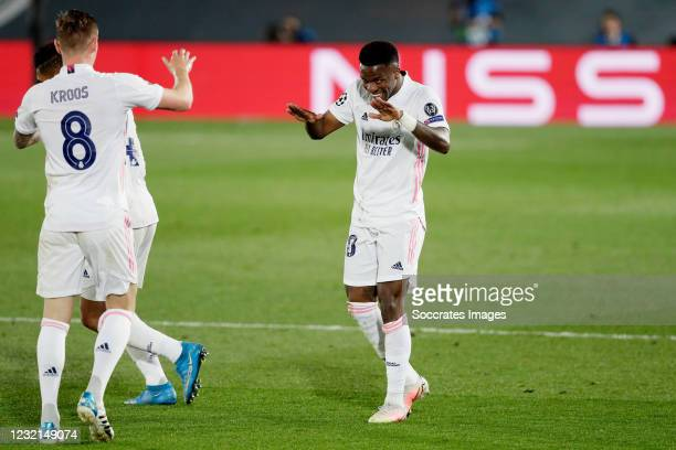 Vinicius Junior of Real Madrid Celebrates 1-0 with Toni Kroos of Real Madrid during the UEFA Champions League match between Real Madrid v Liverpool...