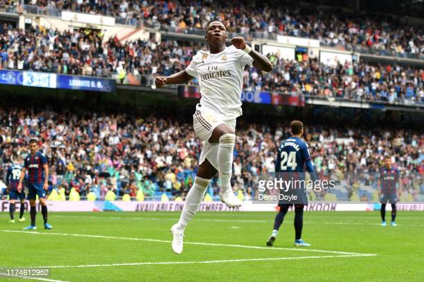 Vinicius Junior of Real Madrid celebrates a goal that is later disallowed during the La Liga match between Real Madrid CF and Levante UD at Estadio...