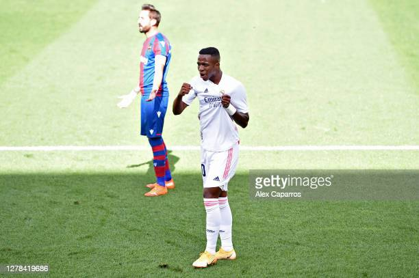 Vinicius Junior of Real Madrid celebrates after he scores his sides first goal during the La Liga Santander match between Levante UD and Real Madrid...