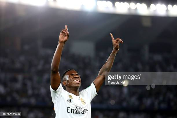 Vinicius Junior of Real Madrid celebrates after his team's fourth goal during the FIFA Club World Cup UAE 2018 Final between Al Ain and Real Madrid...