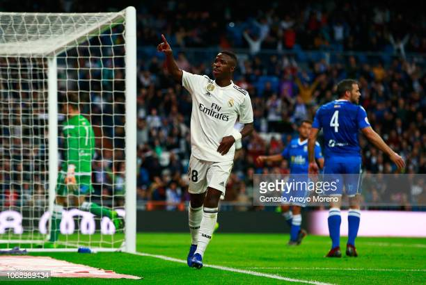 Vinicius Junior of Real Madrid celebrates after scoring his team's fifth goal during the Copa del Rey fourth round match between Real Madrid and...