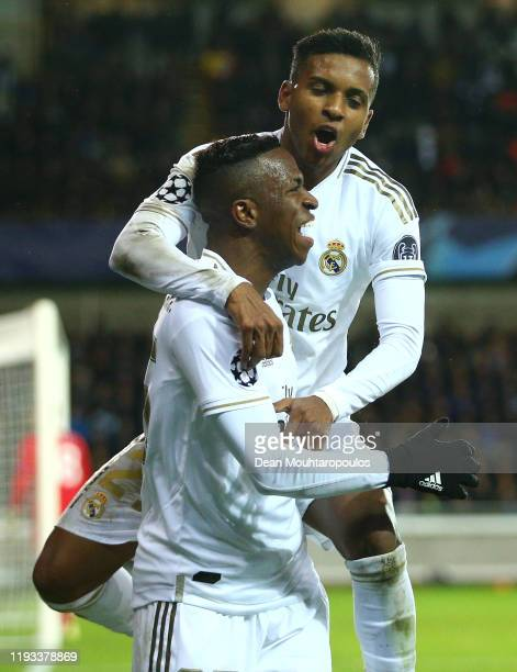 Vinicius Junior of Real Madrid celebrates after scoring his team's second goal with Rodrygo of Real Madrid during the UEFA Champions League group A...