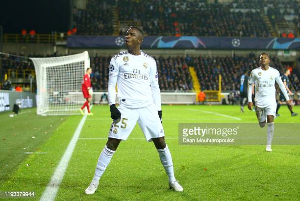 Vinicius Junior of Real Madrid celebrates after scoring his team's second goal during the UEFA Champions League group A match between Club Brugge KV...