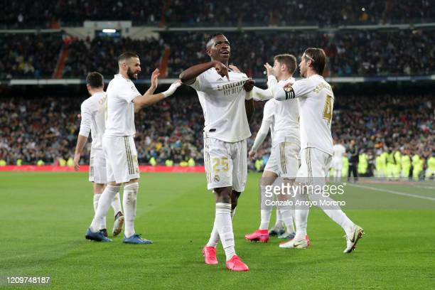 Vinicius Junior of Real Madrid celebrates after scoring his team's first goal during the Liga match between Real Madrid CF and FC Barcelona at...