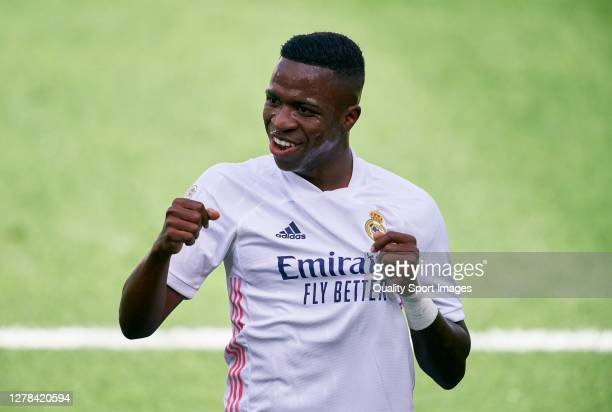 Vinicius Junior of Real Madrid celebrates after scoring his team's first goal during the La Liga Santander match between Levante UD and Real Madrid...