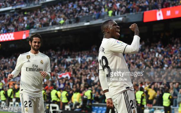 Vinicius Junior of Real Madrid celebrates after scoring their opening goal during the La Liga match between Real Madrid CF and Real Valladolid CF at...