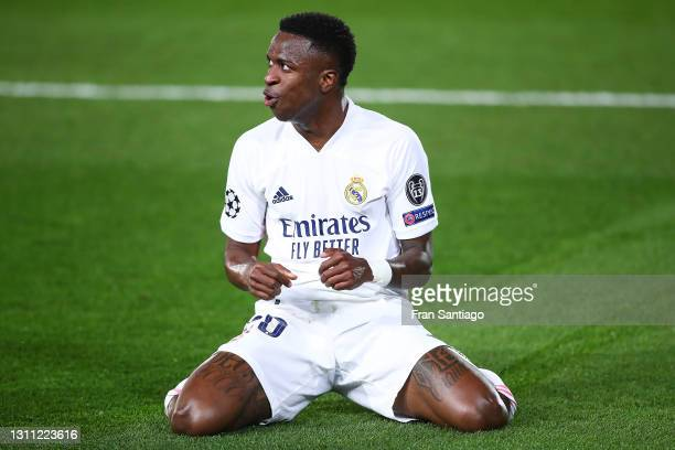 Vinicius Junior of Real Madrid celebrates scoring a goal during the UEFA Champions League Quarter Final match between Real Madrid and Liverpool FC at...