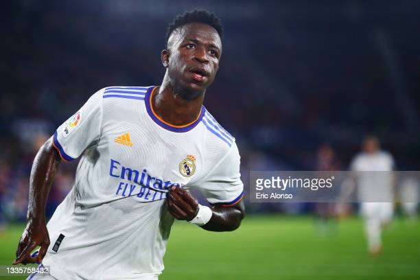 Vinicius Junior of Real Madrid celebrates scoring his side's 2nd goal during the La Liga Santader match between Levante UD and Real Madrid CF at...