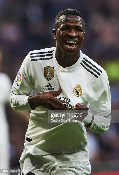 Vinicius Junior of Real Madrid celebrates scoring his team's opening goal during the La Liga match between Real Madrid CF and Real Valladolid CF at...