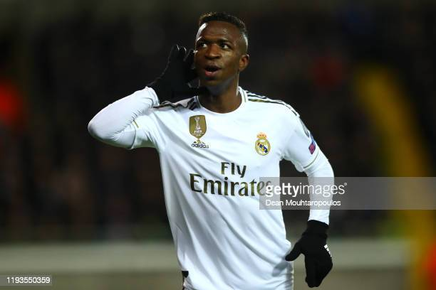 Vinicius Junior of Real Madrid celebrates scoring his teams second goal of the game during the UEFA Champions League group A match between Club...