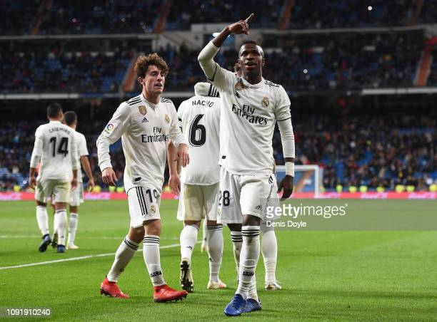 Vinicius Junior of Real Madrid CF celebrates after scoring Real's 3rd goal during the Copa del Rey Round of 16 match between Real Madrid CF and CD...