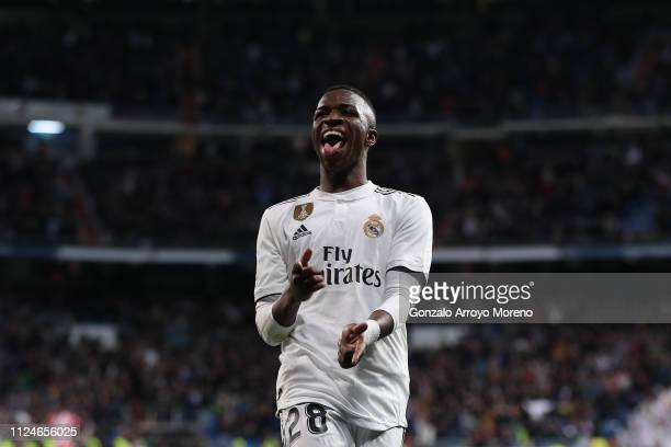 Vinicius Junior of Real Madrid CF celebrates his team´s fourth goal during the Copa del Rey Quarter Final match between Real Madrid CF and Girona FC...