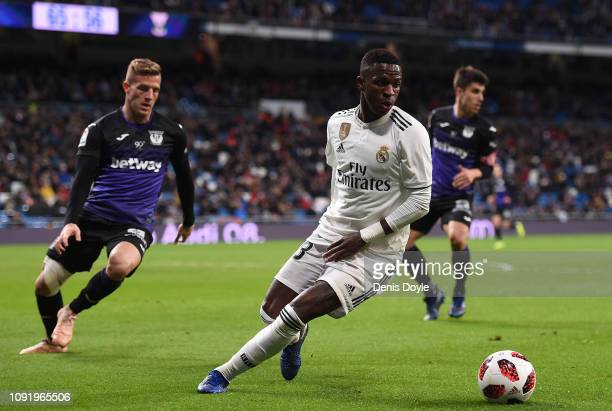 Vinicius Junior of Real Madrid CF in action against Jonathan Silva of CD Leganes during the Copa del Rey Round of 16 match between Real Madrid CF and...