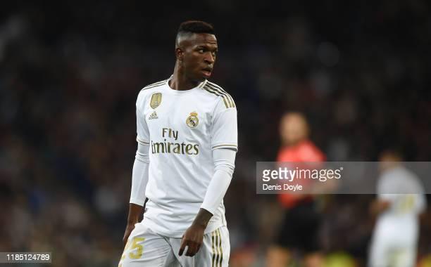 Vinicius Junior of Real Madrid CF looks on during the Liga match between Real Madrid CF and Real Betis Balompie at Estadio Santiago Bernabeu on...
