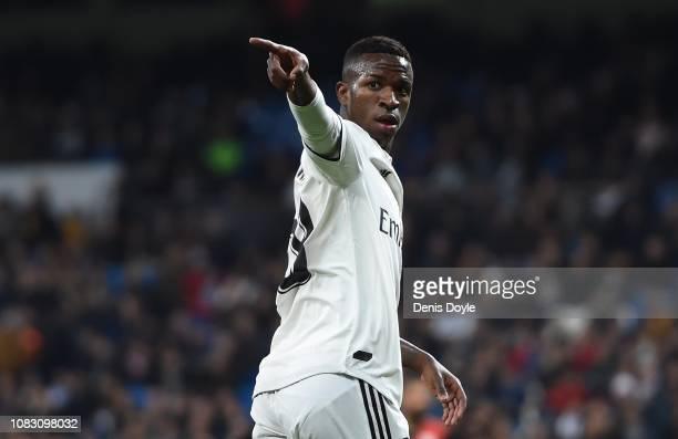Vinicius Junior of Real Madrid CF reacts during the La Liga match between Real Madrid CF and Rayo Vallecano de Madrid at Estadio Santiago Bernabeu on...