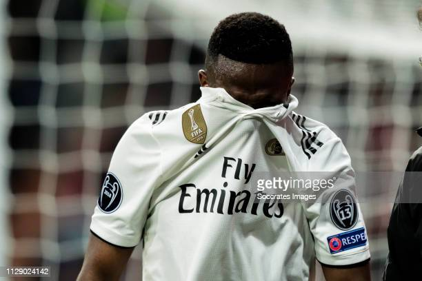 Vinicius Junior of Real Madrid during the UEFA Champions League match between Real Madrid v Ajax at the Santiago Bernabeu on March 5 2019 in Madrid...