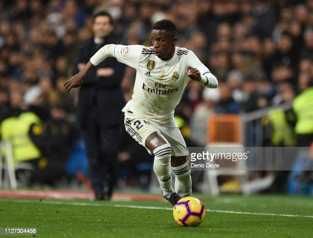 Vinicius Junior of Real Madrid in action during the La Liga match between Real Madrid CF and Deportivo Alaves at Estadio Santiago Bernabeu on...