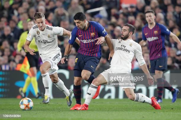 Vinicius Junior of Real Madrid Luis Suarez of FC Barcelona Dani Carvajal of Real Madrid during the Spanish Copa del Rey match between FC Barcelona v...