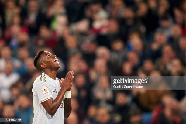 Vinicius Junior of Real Madrid reacts during the Copa del Rey Quarter Final match between Real Madrid CF and Real Sociedad at Estadio Santiago...