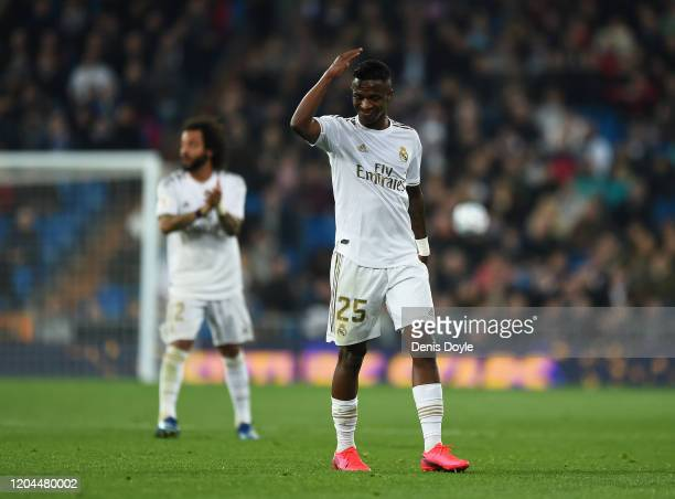 Vinicius Junior of Real Madrid reacts during the Copa del Rey Quarter Final at Estadio Santiago Bernabeu on February 06 2020 in Madrid Spain