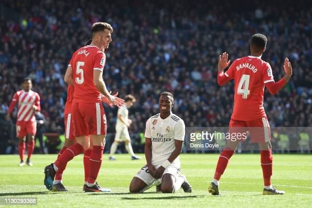 Vinicius Junior of Real Madrid reacts during the La Liga match between Real Madrid CF and Girona FC at Estadio Santiago Bernabeu on February 17 2019...