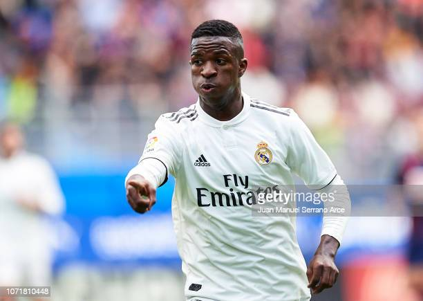 Vinicius Junior of Real Madrid reacts during the La Liga match between SD Eibar and Real Madrid CF at Ipurua Municipal Stadium on November 24 2018 in...