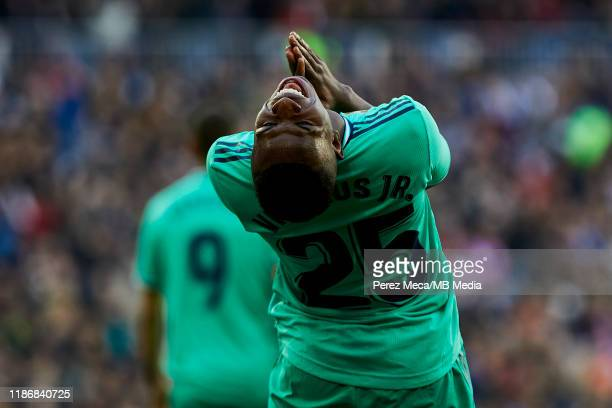 Vinicius Junior of Real Madrid reacts during the Liga match between Real Madrid CF and RCD Espanyol at Estadio Santiago Bernabeu on December 7 2019...