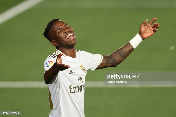 Vinicius Junior of Real Madrid reacts during the Liga match between Real Madrid CF and Getafe CF at Estadio Alfredo Di Stefano on July 02, 2020 in...
