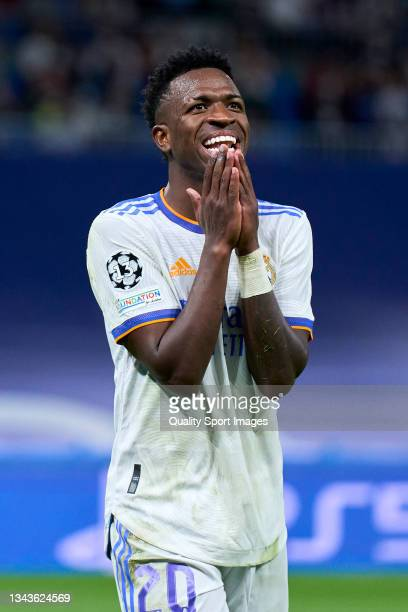 Vinicius Junior of Real Madrid reacts during the UEFA Champions League group D match between Real Madrid and FC Sheriff at Estadio Santiago Bernabeu...