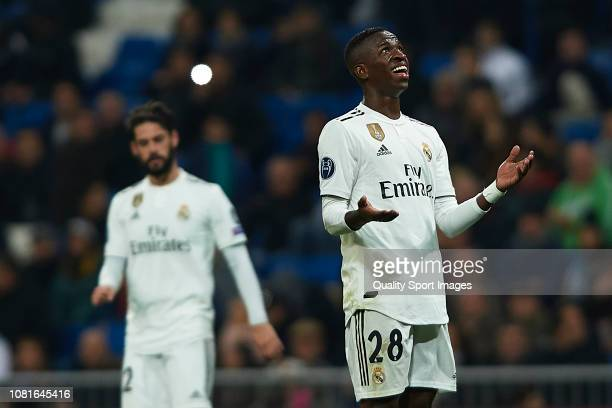 Vinicius Junior of Real Madrid reacts during the UEFA Champions League Group G match between Real Madrid and CSKA Moscow at Bernabeu on December 12...
