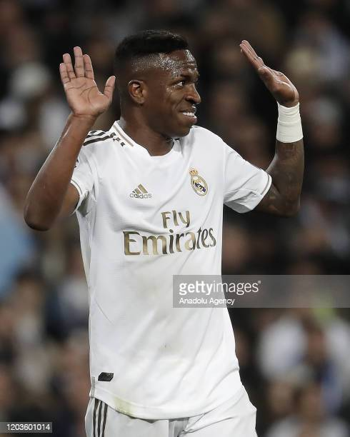 Vinicius Junior of Real Madrid reacts during the UEFA Champions League round of 16 first leg soccer match between Real Madrid and Manchester City at...