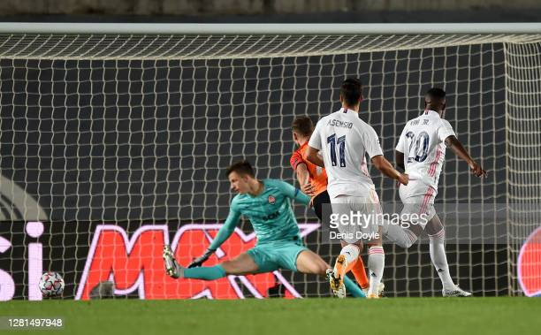 Vinicius Junior of Real Madrid scores his sides second goal during the UEFA Champions League Group B stage match between Real Madrid and Shakhtar...
