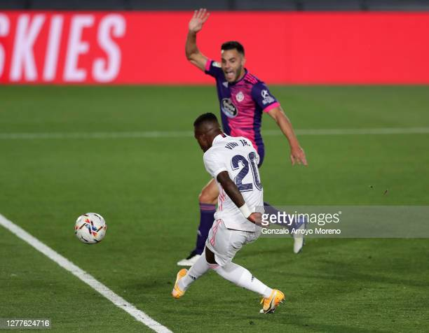 Vinicius Junior of Real Madrid scores his team's first goal during the La Liga Santander match between Real Madrid and Real Valladolid CF at Estadio...