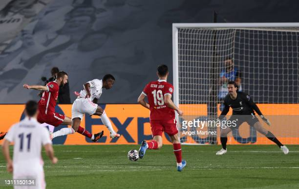 Vinicius Junior of Real Madrid scores their team's first goal during the UEFA Champions League Quarter Final match between Real Madrid and Liverpool...