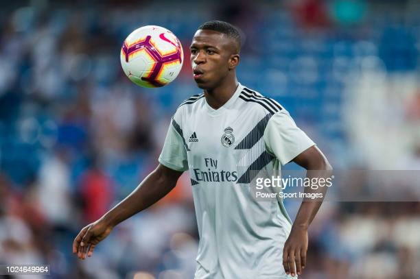 AUGUST 19 Vinicius Junior of Real Madrid warms up prior to the La Liga match between Real Madrid CF and Getafe CF at Estadio Santiago Bernabeu on...
