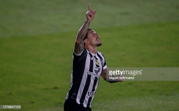 Vinicius of Ceara celebrates after scoring his team's first goal during a match between Red Bull Bragantino and Ceara as part of Brasileirao Series A...