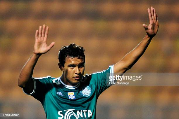 Vinicius of Palmeiras celebrates a goal against Icasa during a match between Palmeiras and Icasa as part of the Brazilian Championship serie B 2013...
