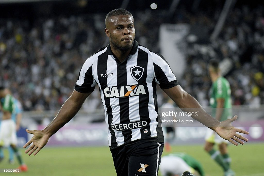Vinicius Tanque of Botafogo celebrates a scored goal during the match between Botafogo and Chapecoense as part of Brasileirao Series A 2017 at Engenhao Stadium on October 11, 2017 in Rio de Janeiro, Brazil.