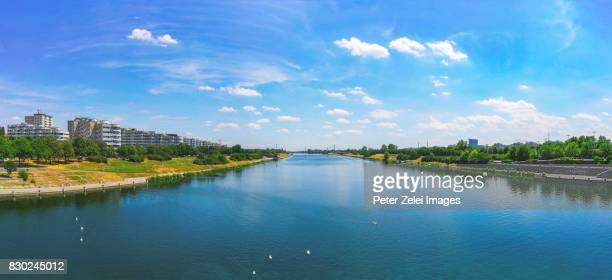Vinnea cityscape and the Danube river, view from Donauinsel, Austria