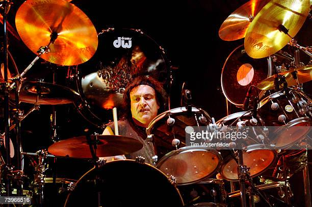 Vinnie Appice of Heaven and Hell performs in support of the bands 'Heaven and Hell Live 2007' release at the HP Pavilion on April 24 2007 in San Jose...