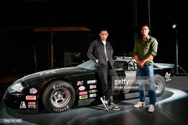 Vinnie Bennett and JD Pardo pose for a portrait at the F9 Fest event on the Universal Studios backlot celebrating F9: The Fast Saga on September 15,...