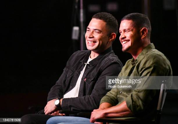 Vinnie Bennett and JD Pardo speak during an interview at the F9 Fest event on the Universal Studios backlot celebrating F9: The Fast Saga on...