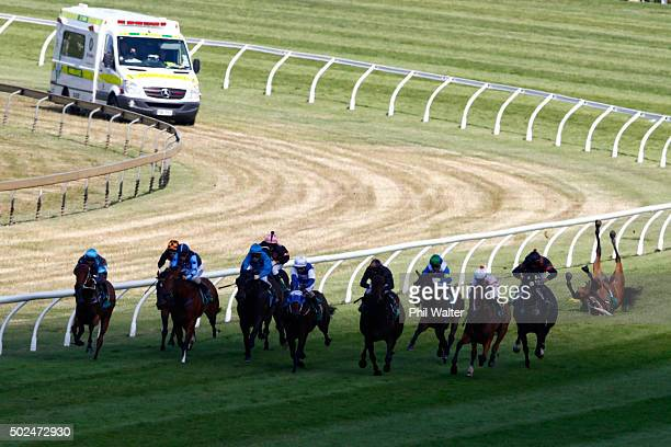Vinnie Colgan tumbles off Sofia Rose in the Cambridge Stud Eight Carat Classic during the Boxing Day races at Ellerslie on December 26, 2015 in...